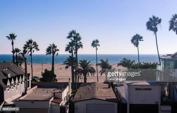Santa Monica houses and palm trees against beach and clear sky