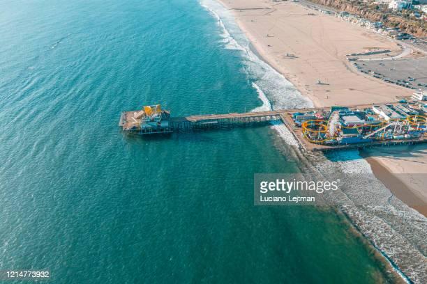 santa monica pier aerial - santa monica pier stock pictures, royalty-free photos & images