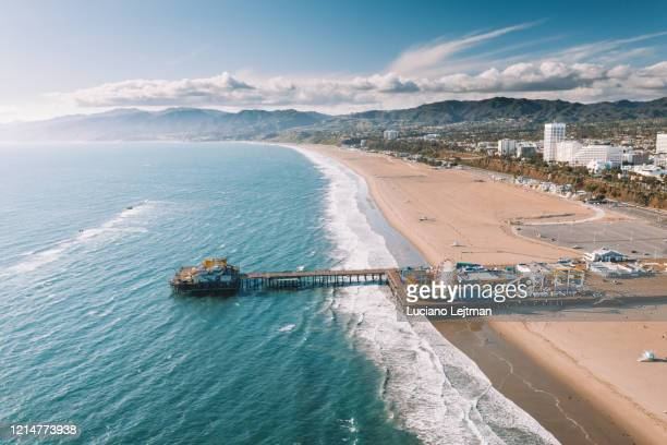 santa monica pier aerial - santa monica stock pictures, royalty-free photos & images