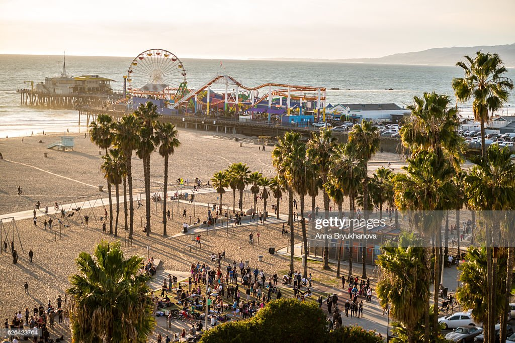 Santa Monica Pier and Muscle Beach, CA, USA : Stock Photo