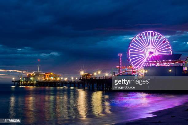 Santa monica pier at night, california, usa