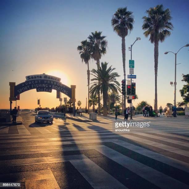 Santa Monica Pier Entrance at sunset, California, USA