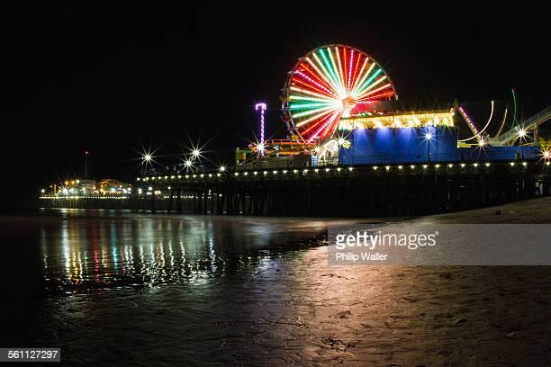 Santa Monica Pier, illuminated at night, California, USA