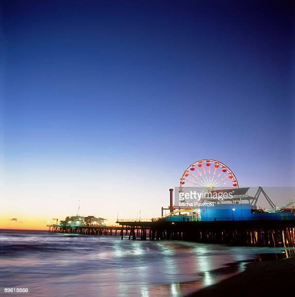 Santa Monica Pier in Los Angeles at dusk
