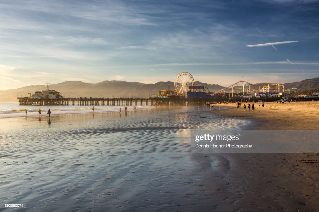 Santa Monica Pier sunset : Stock Photo