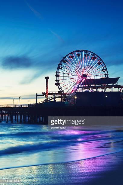 santa monica pier with ferris wheel - santa monica stock pictures, royalty-free photos & images