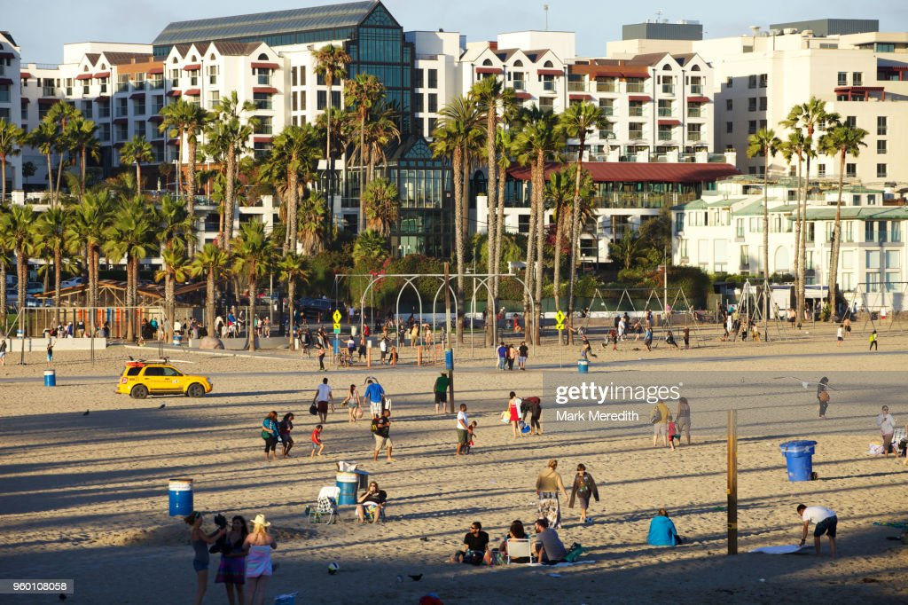 Santa Monica State Beach in late afternoon sunshine : Stock Photo