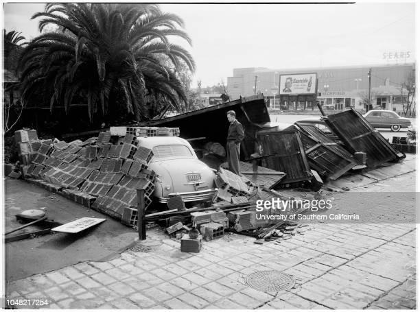 Santa Monica tornado damage, 16 March 1952. Paul Johnson ;Mrs P M Goodfriend ;George Wilson -- 4 years .;Caption slip reads: 'Photographer: Gaze....
