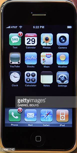 The newly released iPhone is displayed at the Apple store 29 June 2007 in Santa Monica California The release of Apple's muchballyhooed iPhone is...