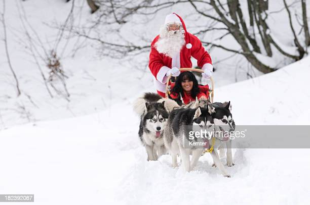 santa on a dogsled - santa face stock pictures, royalty-free photos & images