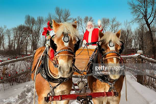 Santa  On An Evening Ride With His Team Of Horses