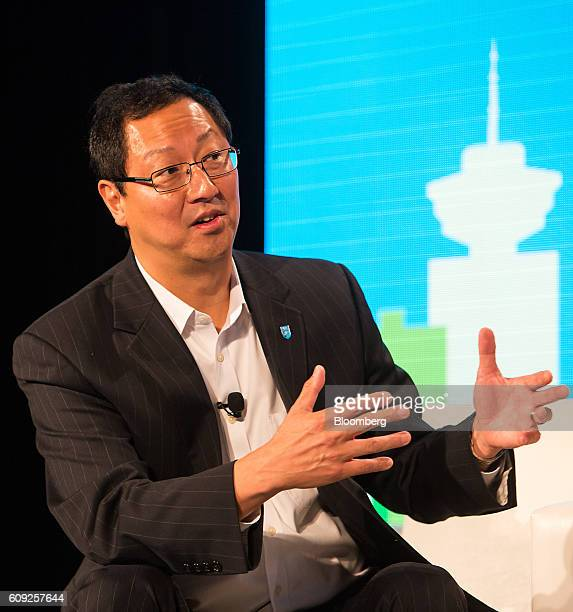 Santa Ono, president of the University of British Columbia, speaks during a panel discussion at the Emerging Cascadia Innovation Corridor Conference...
