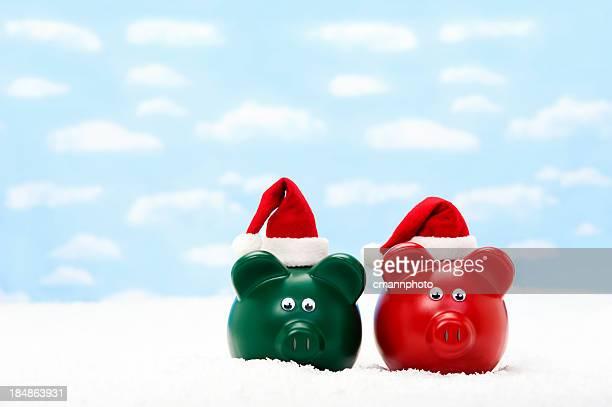 santa piggy banks - cmannphoto stock pictures, royalty-free photos & images