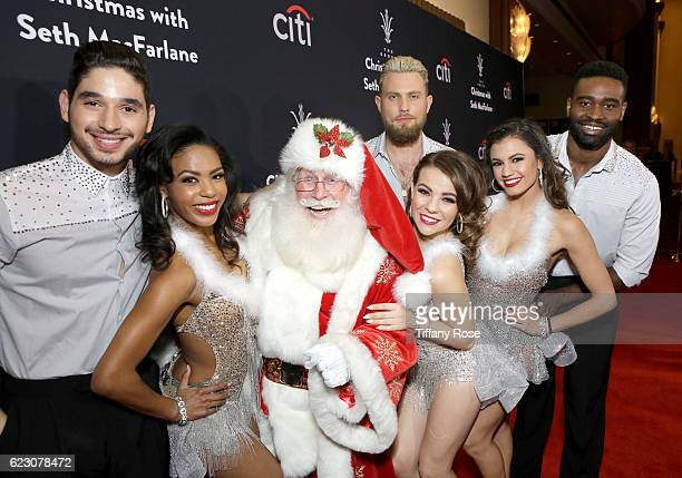 Santa poses with dancers Alan Bersten Britt Stewart Dennis Jauch Brittany Cherry Hayle Erbert and Keo Motsepe at The Grove Christmas with Seth...