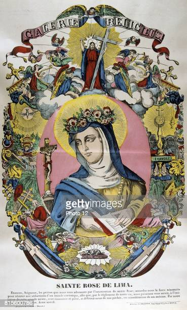 Santa Rosa of Lima Born Lima Peru of Spanish parents was first canonized saint from the New World From mid19th century French coloured print