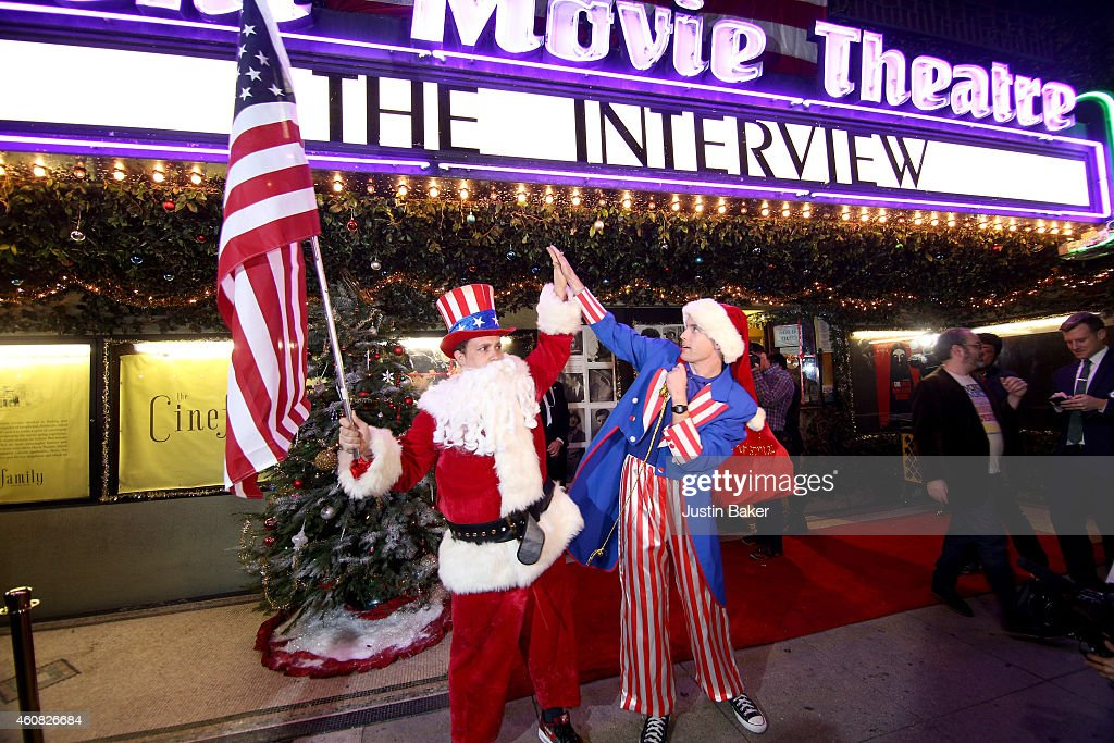Santa Sam and Uncle Sam Claus show their patriotic side outside of the Sony Pictures' 'The Interview' opening on Christmas Day at Cinefamily on December 25, 2014 in Los Angeles, CA. Sony hackers have released stolen information and threatened attacks on theaters which screened the film.