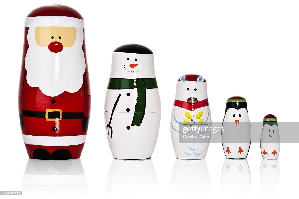 Santa, Snowman, Penguins Russian dolls set : ストックフォト