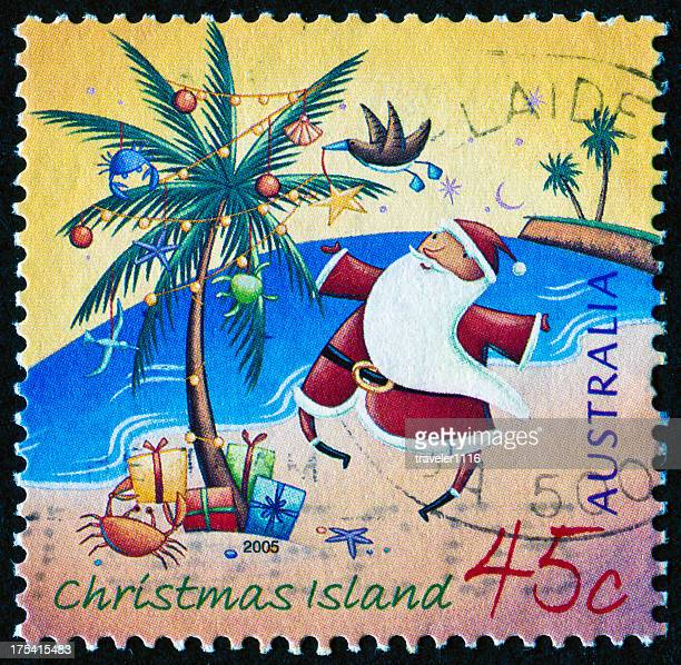 santa stamp - christmas island stock pictures, royalty-free photos & images