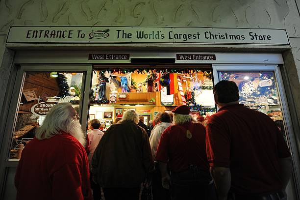 santa students enter bronners the worlds largest christmas store during the charles w howard - Worlds Largest Christmas Store