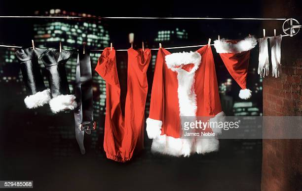 Santa Suit Drying On Clothesline After Christmas