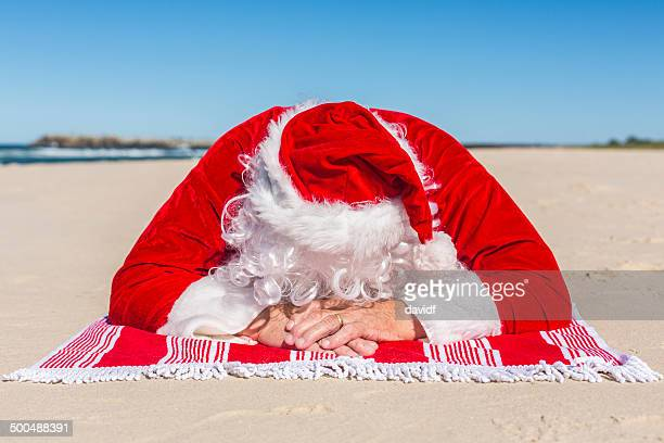Santa Sunbaking on the Beach