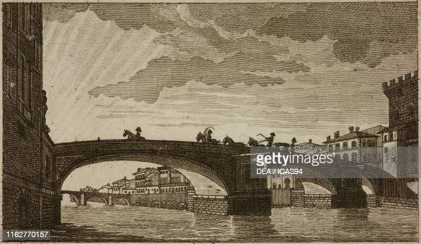 Santa Trinita Bridge Florence Italy engraving from Guida della citta di Firenze ornata di pianta e vedute Florence