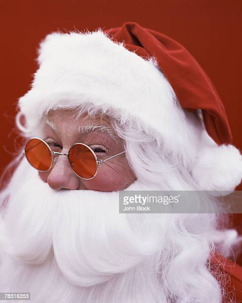 Santa Wearing Glasses with Red Lenses