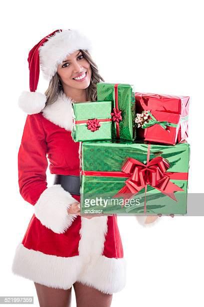 Santa mit einem Bündel von Geschenk