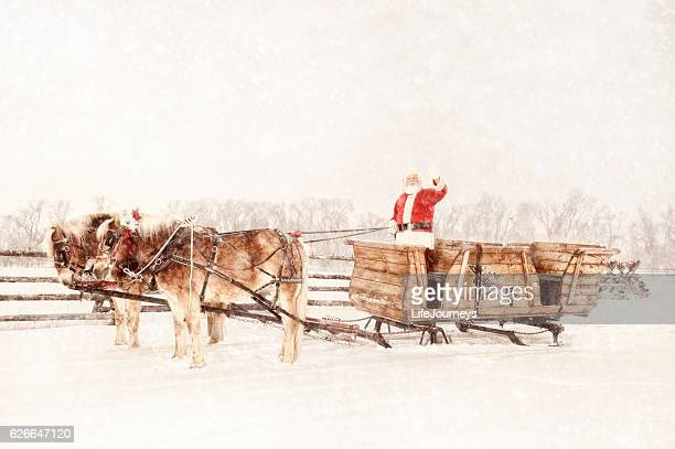 Santa With A Sled and Team of Horses Christmas Day