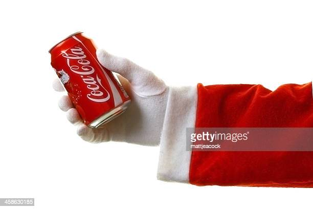 santa with coca cola - long sleeved stock pictures, royalty-free photos & images