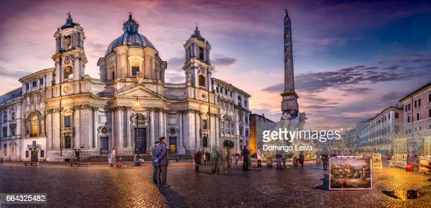 Sant'Agnese in Agone and the obelisco agonale piazza navona, Roma