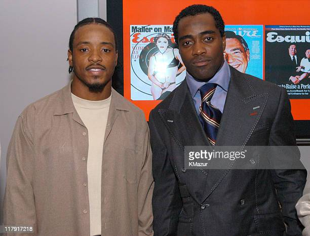 Santana Moss and Curtis Martin of the NY Jets during New York Sports Night at the Esquire Apartment at The Esquire Apartment in New York City New...