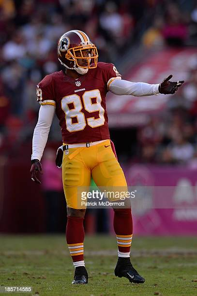 Santana Moss of the Washington Redskins in action against the Chicago Bears during an NFL game at FedExField on October 20 2013 in Landover Maryland