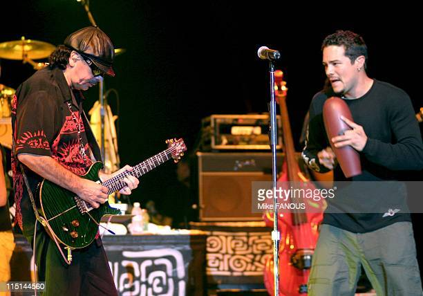 Santana Performs in Los Angeles United States on October 02 2004 Carlos Santana and vocalist Andy Vargas perform live at the Greek Theatre