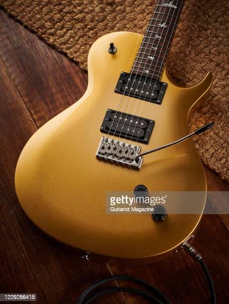 Santana Singlecut Trem electric guitar with an Egyptian Gold finish, taken on October 29, 2019.