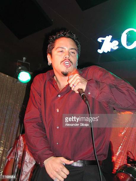 Santana vocalist Andy Vargas performs at Solidarity Thru Salsa benefit for the LAPD disaster support fund on behalf of NY Police Firefighters Widows...