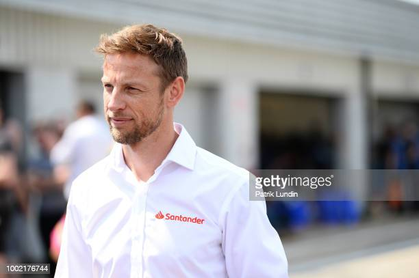 Santander Ambassador Jenson Button is pictured during the 20th Anniversary of the Formula Student competition at Silverstone Circuit on July 14 2018...