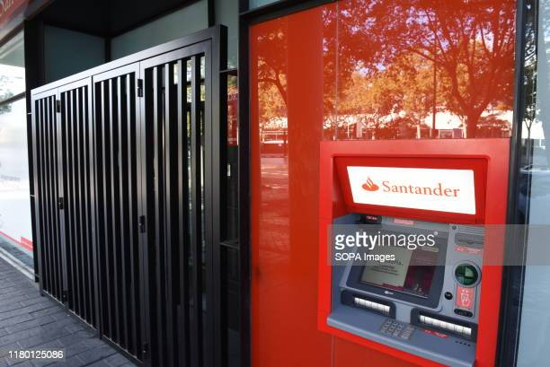 Santander bank branch seen in Madrid. Banco Santander will close another 411 bank branches during the month of November, within the framework of the...