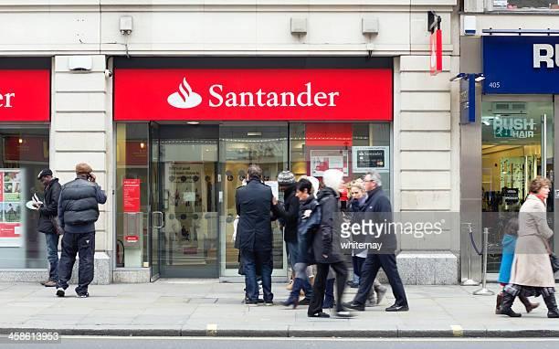 santander bank, central london - banco santander stock pictures, royalty-free photos & images