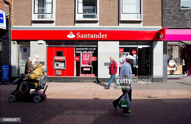 Santander Bank frontage with passers-by