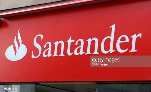 Santander bank logo seen in Devon.