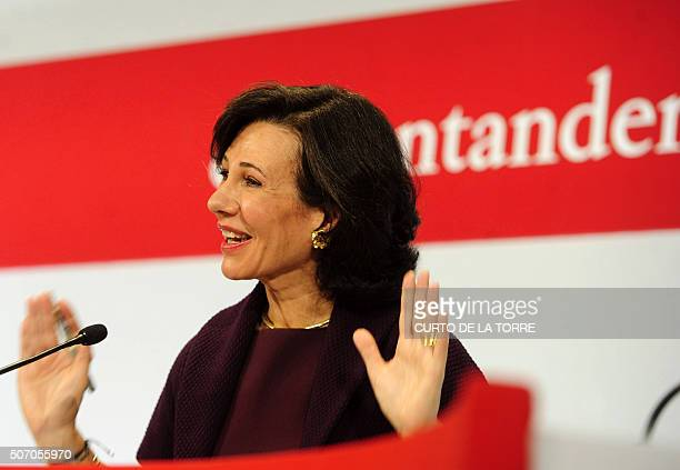 Santander Bank's president Ana Patricia Botin gestures during a press conference announcing the company's 2015 results in Boadilla de Monte near...