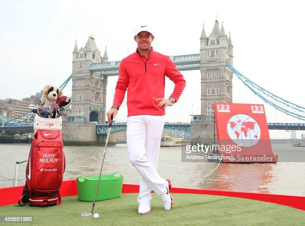 Santander Brand ambassador Rory McIlroy poses during the launch of Santander 1|2|3 World at Potters Field Tower Bridge on September 18 2014 in London...
