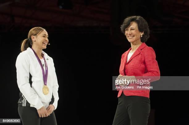 BRANDING*** Santander UK chief executive Ana Botin together with Olympics heptathlon gold medal winner Jessica Ennis Santander UK's latest brand...