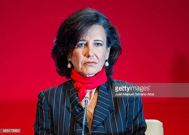 Santander's new chairwoman Ana Patricia Botin listens during an Extraordinary General Meeting at the Palacio Exposiciones on September 15 2014 in...
