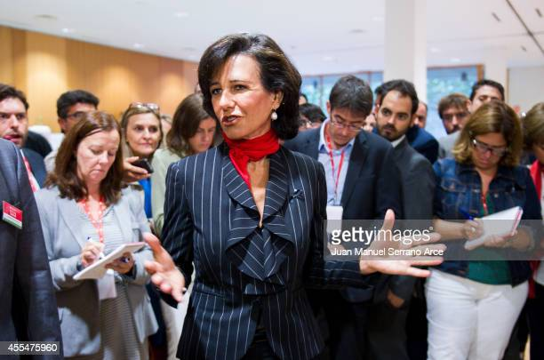 Santander's new chairwoman Ana Patricia Botin speaks after an Extraordinary General Meeting at the Palacio Exposiciones on September 15 2014 in...