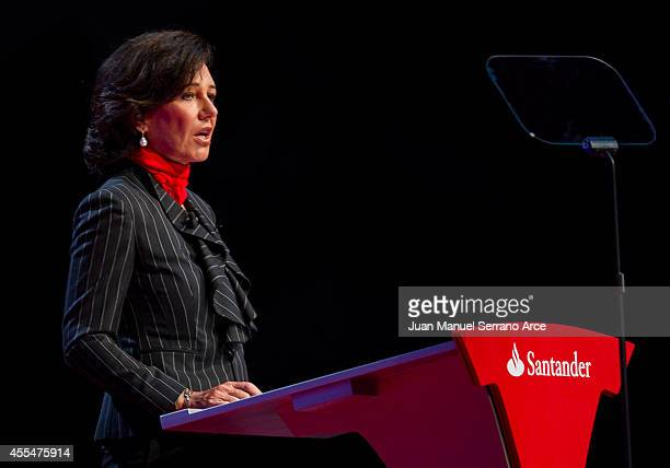 Santander's new chairwoman Ana Patricia Botin speaks during an Extraordinary General Meeting at the Palacio Exposiciones on September 15 2014 in...