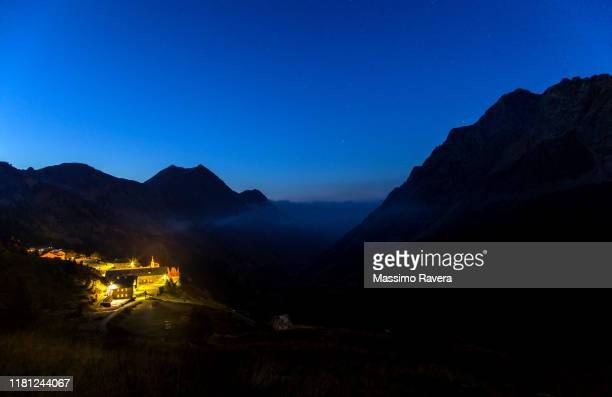 sant'anna di vinadio sanctuary at night - cuneo stock pictures, royalty-free photos & images
