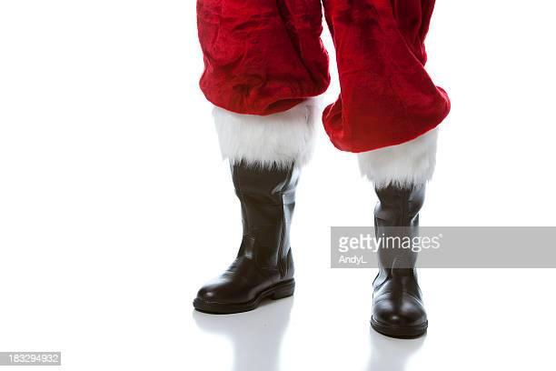 santa's boots - black boot stock pictures, royalty-free photos & images