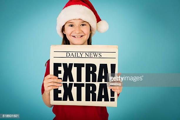 Santa's Happy Little Helper Holding Up Newspaper
